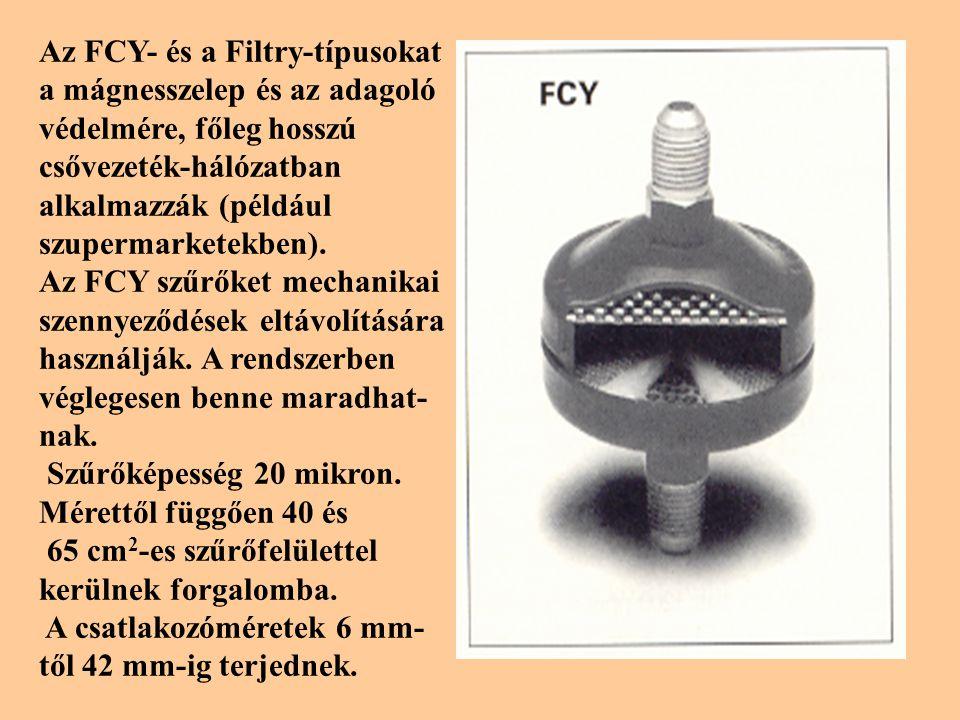 Az FCY- és a Filtry-típusokat a mágnesszelep és az adagoló védelmére, főleg hosszú csővezeték-hálózatban alkalmazzák (például szupermarketekben).
