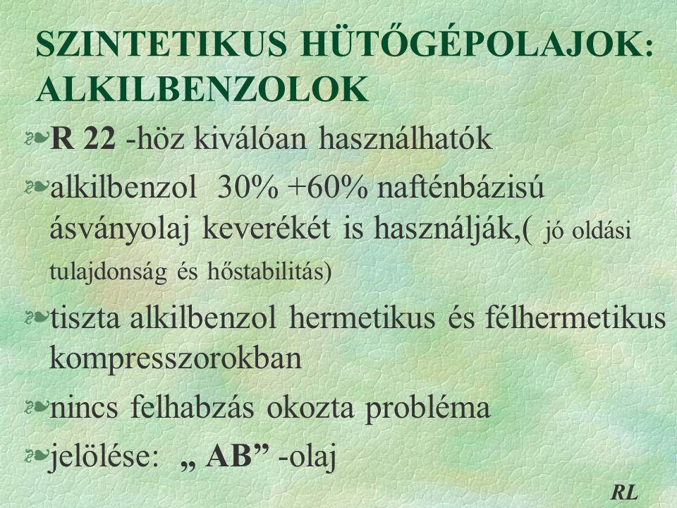 """SZINTETIKUS HÜTŐGÉPOLAJOK : ALKILBENZOLOK §R 22 -höz kiválóan használhatók §alkilbenzol 30% +60% nafténbázisú ásványolaj keverékét is használják,( jó oldási tulajdonság és hőstabilitás) §tiszta alkilbenzol hermetikus és félhermetikus kompresszorokban §nincs felhabzás okozta probléma §jelölése: """" AB -olaj RL"""
