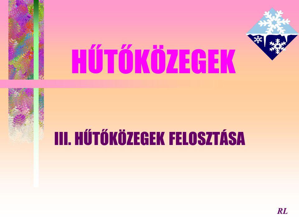 HŰTŐKÖZEGEK III. HŰTŐKÖZEGEK FELOSZTÁSA RL
