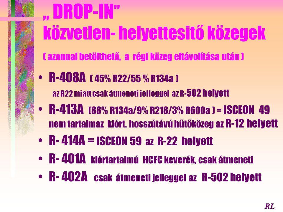 R-290/R-600 propán- bután keverék az R-12 helyettesítésére zeotrop blend 50% ( csúszás az összetételtől függ) jó hatásfokú körfolyamat valósítható meg
