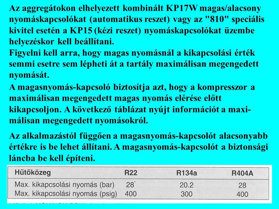 Az aggregátokon elhelyezett kombinált KP17W magas/alacsony nyomáskapcsolókat (automatikus reszet) vagy az