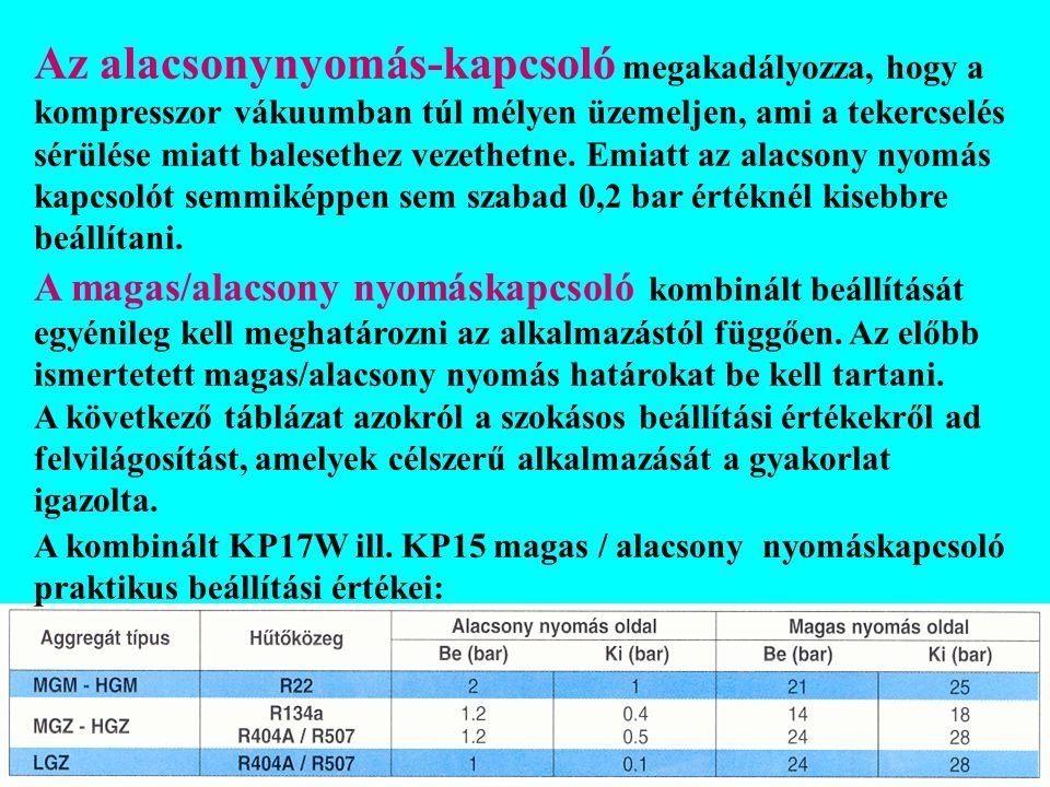 A kombinált KP17W ill. KP15 magas / alacsony nyomáskapcsoló praktikus beállítási értékei: Az alacsonynyomás-kapcsoló megakadályozza, hogy a kompresszo