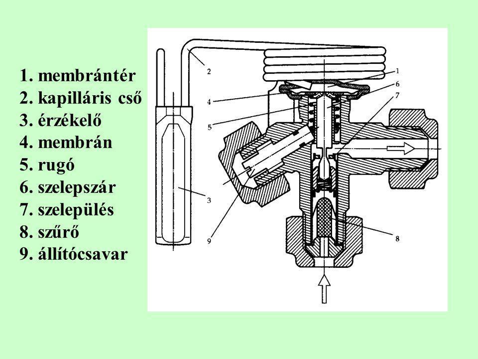 1. membrántér 2. kapilláris cső 3. érzékelő 4. membrán 5. rugó 6. szelepszár 7. szelepülés 8. szűrő 9. állítócsavar