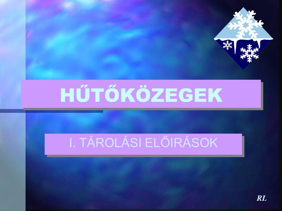 HŰTŐKÖZEGEK I. TÁROLÁSI ELŐIRÁSOK RL