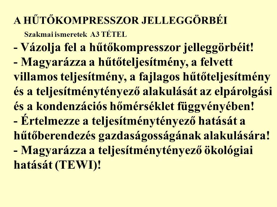 A HŰTŐKOMPRESSZOR JELLEGGÖRBÉI Szakmai ismeretek A3 TÉTEL - Vázolja fel a hűtőkompresszor jelleggörbéit! - Magyarázza a hűtőteljesítmény, a felvett vi