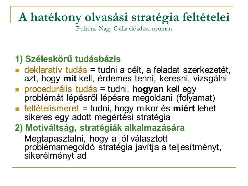 A hatékony olvasási stratégia feltételei Pethőné Nagy Csilla előadása nyomán 1) Széleskörű tudásbázis deklaratív tudás = tudni a célt, a feladat szerk