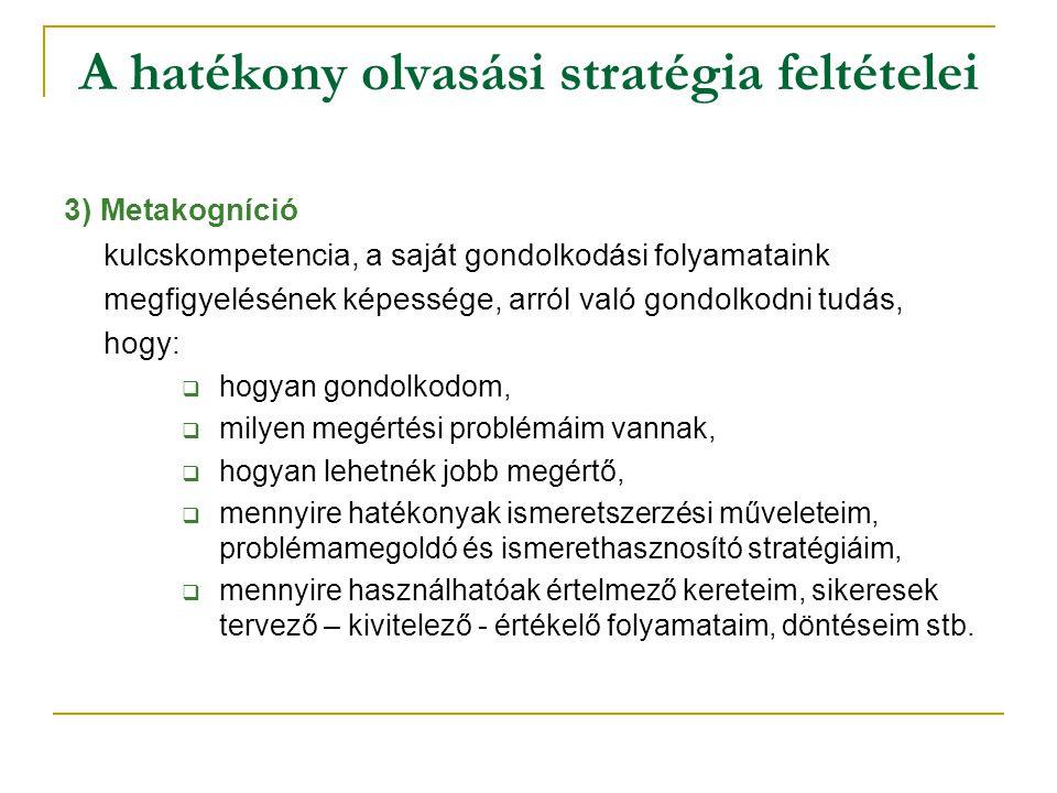 A hatékony olvasási stratégia feltételei 3) Metakogníció kulcskompetencia, a saját gondolkodási folyamataink megfigyelésének képessége, arról való gon