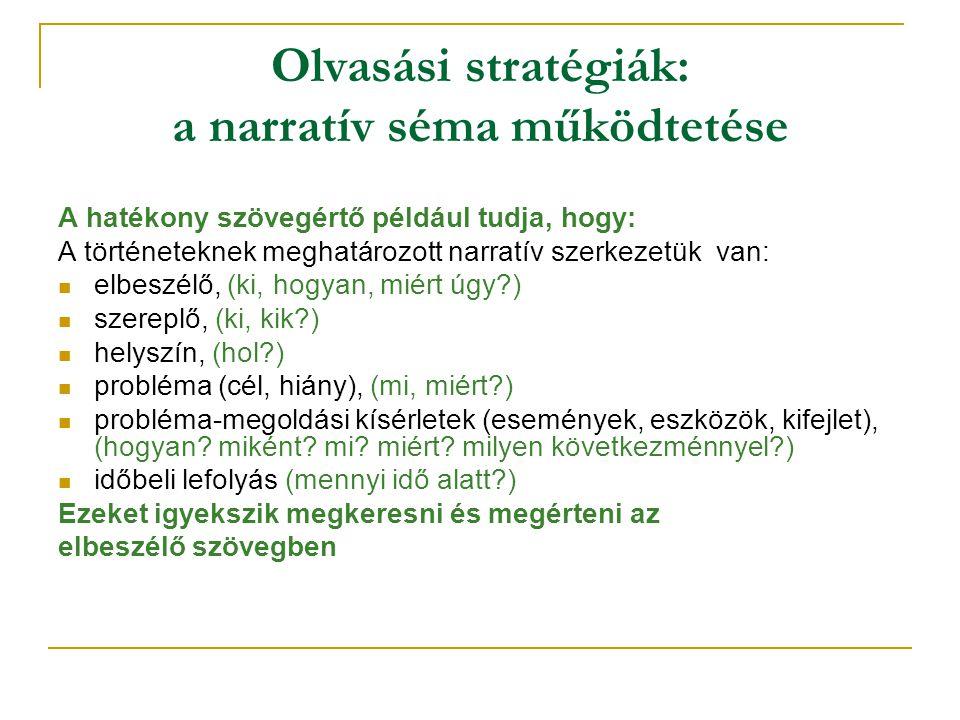 Olvasási stratégiák: a narratív séma működtetése A hatékony szövegértő például tudja, hogy: A történeteknek meghatározott narratív szerkezetük van: el