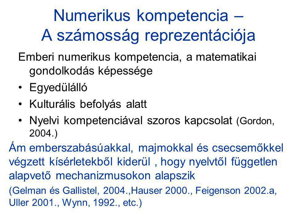 Numerikus kompetencia – A számosság reprezentációja Emberi numerikus kompetencia, a matematikai gondolkodás képessége Egyedülálló Kulturális befolyás