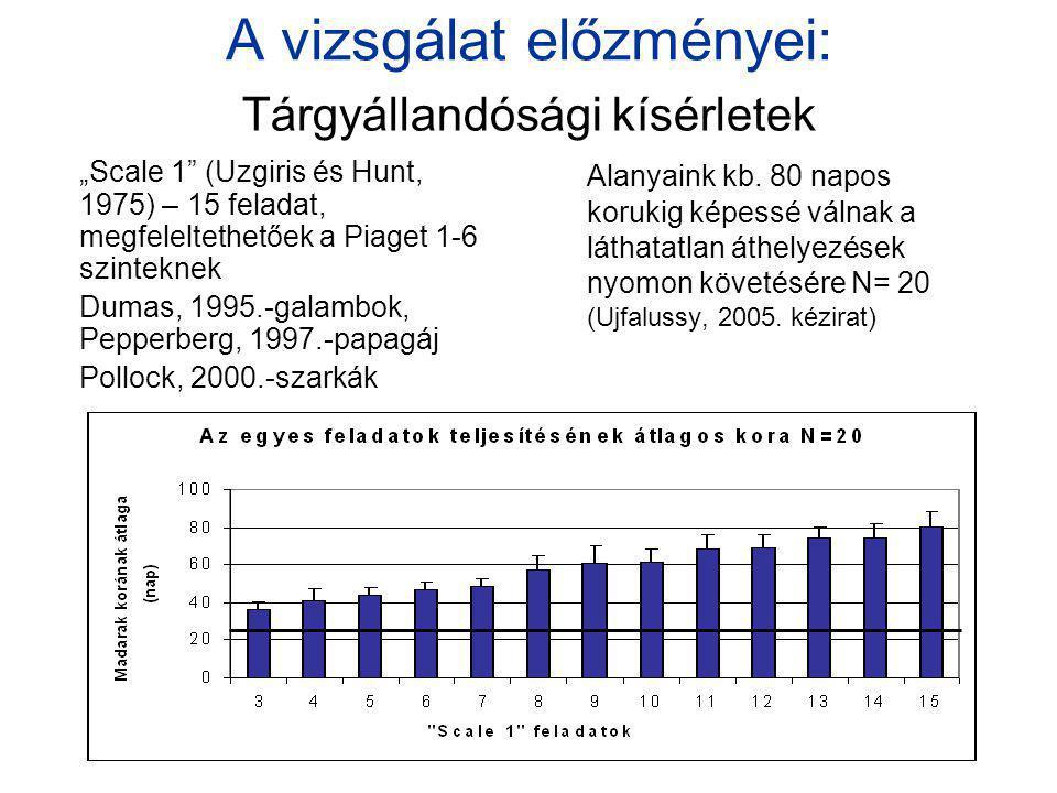 """A vizsgálat előzményei: """"Scale 1"""" (Uzgiris és Hunt, 1975) – 15 feladat, megfeleltethetőek a Piaget 1-6 szinteknek Dumas, 1995.-galambok, Pepperberg, 1"""