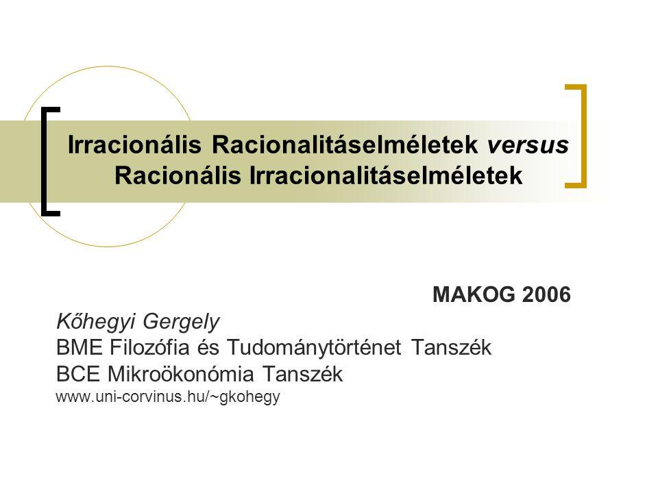 Irracionális Racionalitáselméletek versus Racionális Irracionalitáselméletek MAKOG 2006 Kőhegyi Gergely BME Filozófia és Tudománytörténet Tanszék BCE