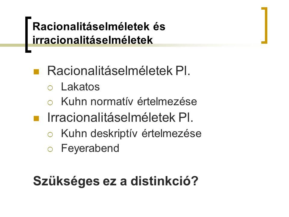 Racionalitáselméletek és irracionalitáselméletek Racionalitáselméletek Pl.  Lakatos  Kuhn normatív értelmezése Irracionalitáselméletek Pl.  Kuhn de