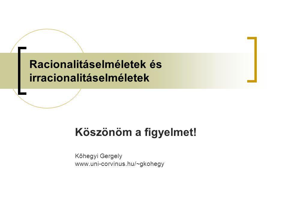Racionalitáselméletek és irracionalitáselméletek Köszönöm a figyelmet! Kőhegyi Gergely www.uni-corvinus.hu/~gkohegy