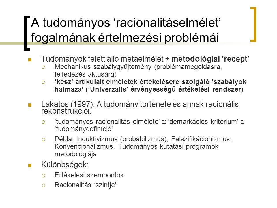 A tudományos 'racionalitáselmélet' fogalmának értelmezési problémái Tudományok felett álló metaelmélet + metodológiai 'recept'  Mechanikus szabálygyűjtemény (problémamegoldásra, felfedezés aktusára)  'kész' artikulált elméletek értékelésére szolgáló 'szabályok halmaza' ('Univerzális' érvényességű értékelési rendszer) Lakatos (1997): A tudomány története és annak racionális rekonstrukciói.