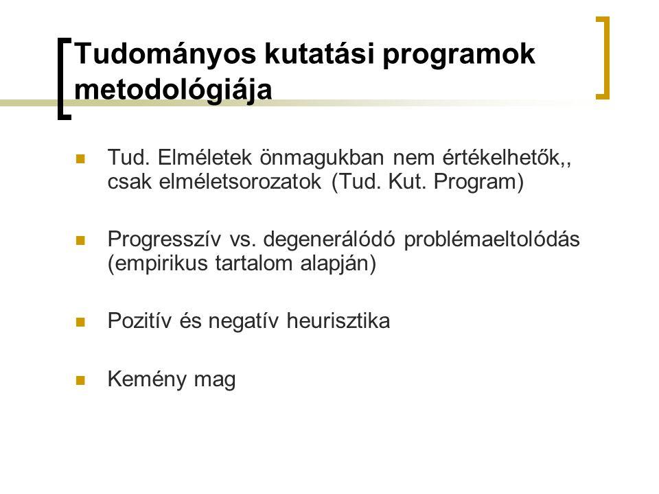 Tudományos kutatási programok metodológiája Tud. Elméletek önmagukban nem értékelhetők,, csak elméletsorozatok (Tud. Kut. Program) Progresszív vs. deg
