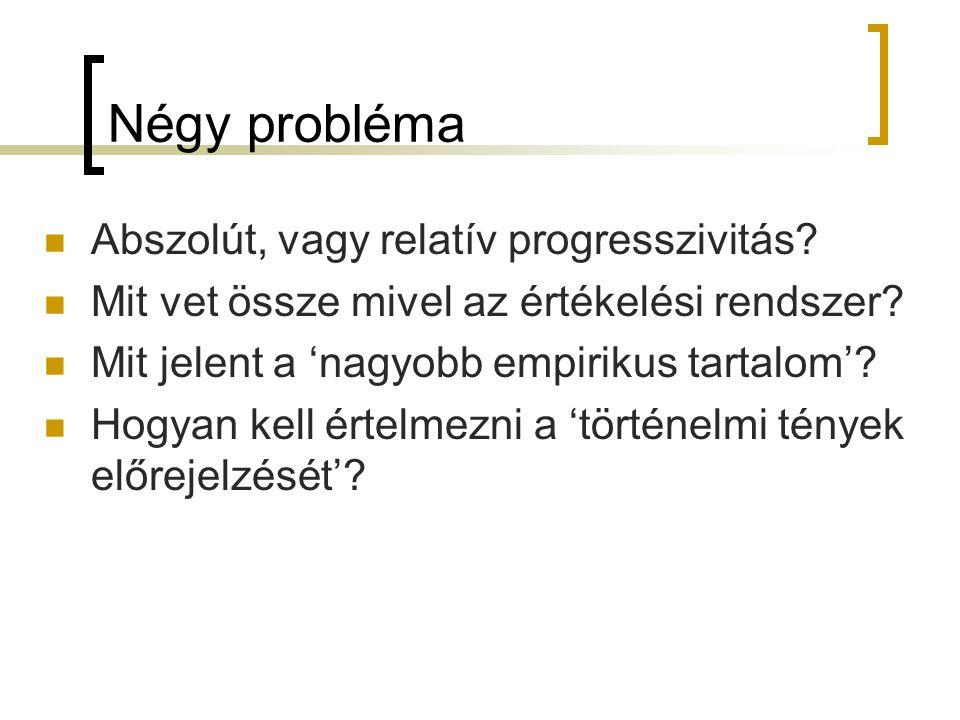 Négy probléma Abszolút, vagy relatív progresszivitás? Mit vet össze mivel az értékelési rendszer? Mit jelent a 'nagyobb empirikus tartalom'? Hogyan ke