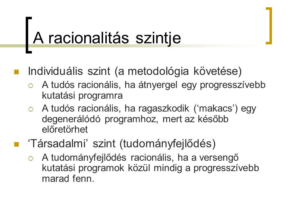 A racionalitás szintje Individuális szint (a metodológia követése)  A tudós racionális, ha átnyergel egy progresszívebb kutatási programra  A tudós