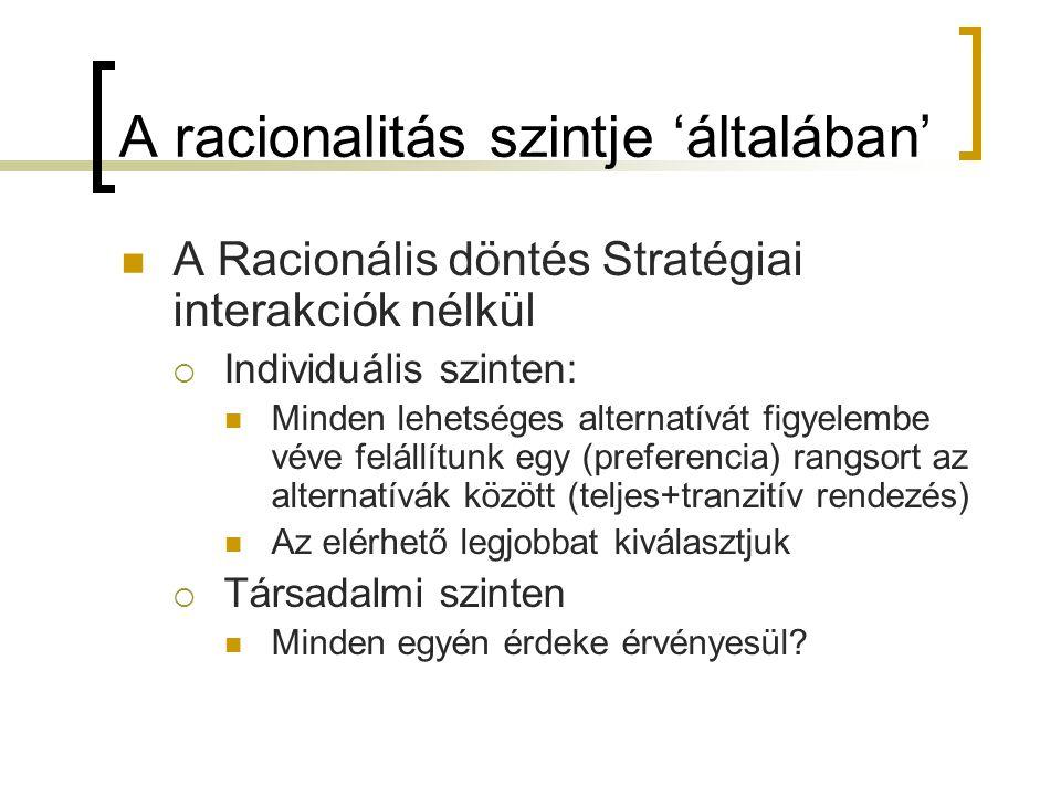 A racionalitás szintje 'általában' A Racionális döntés Stratégiai interakciók nélkül  Individuális szinten: Minden lehetséges alternatívát figyelembe