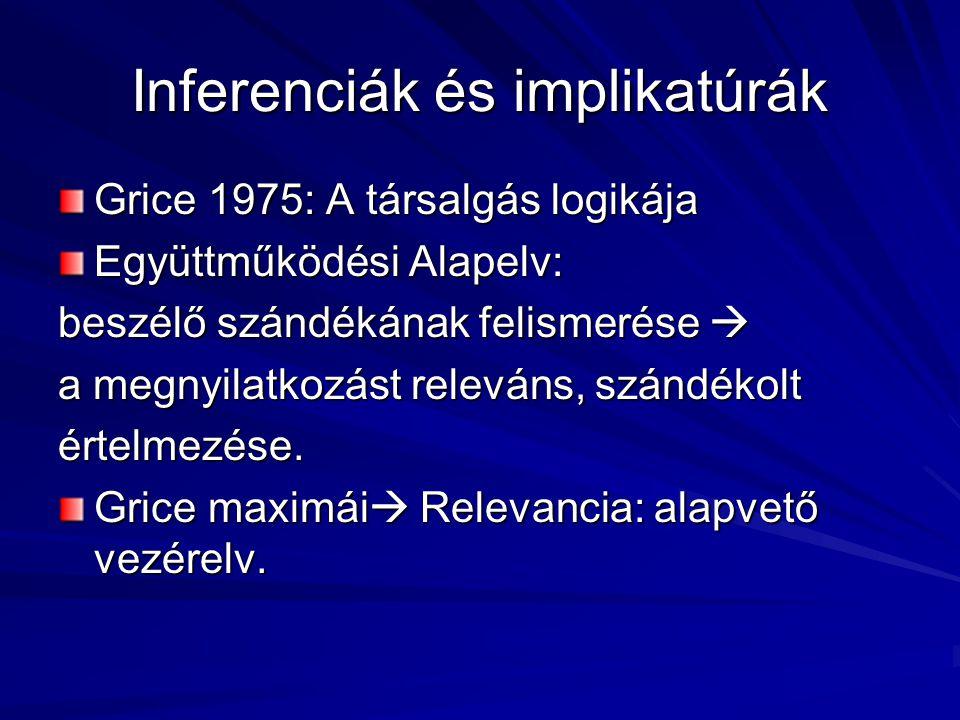 Inferenciák és implikatúrák Grice 1975: A társalgás logikája Együttműködési Alapelv: beszélő szándékának felismerése  a megnyilatkozást releváns, szá