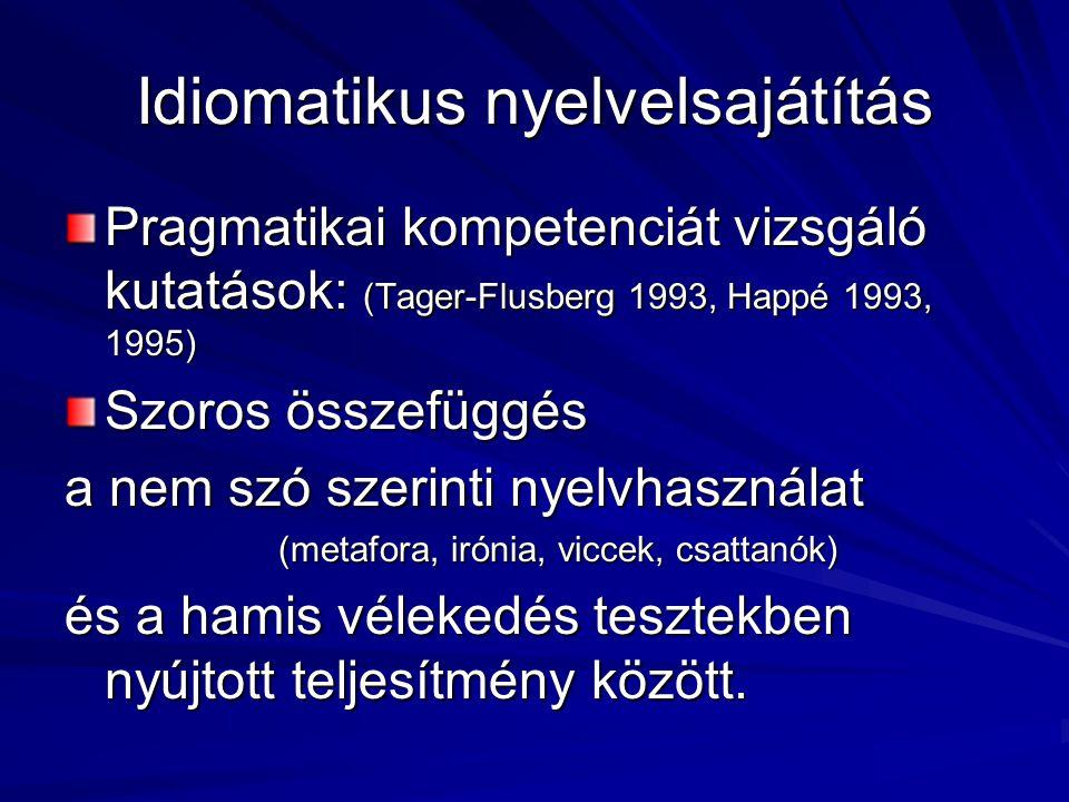 Idiomatikus nyelvelsajátítás Pragmatikai kompetenciát vizsgáló kutatások: (Tager-Flusberg 1993, Happé 1993, 1995) Szoros összefüggés a nem szó szerint