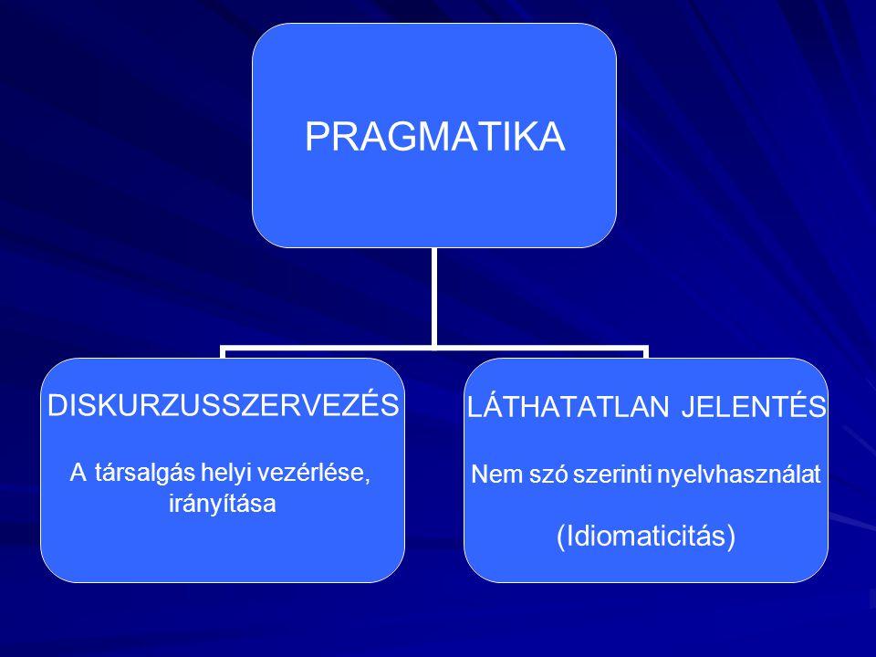 PRAGMATIKA DISKURZUSSZERVEZÉS A társalgás helyi vezérlése, irányítása LÁTHATATLAN JELENTÉS Nem szó szerinti nyelvhasználat (Idiomaticitás)