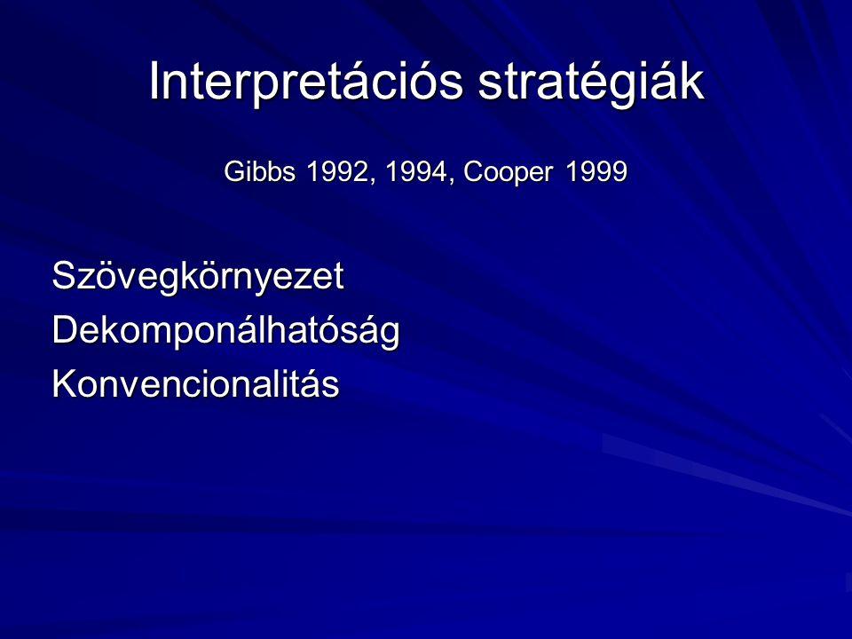 Interpretációs stratégiák Gibbs 1992, 1994, Cooper 1999 SzövegkörnyezetDekomponálhatóságKonvencionalitás