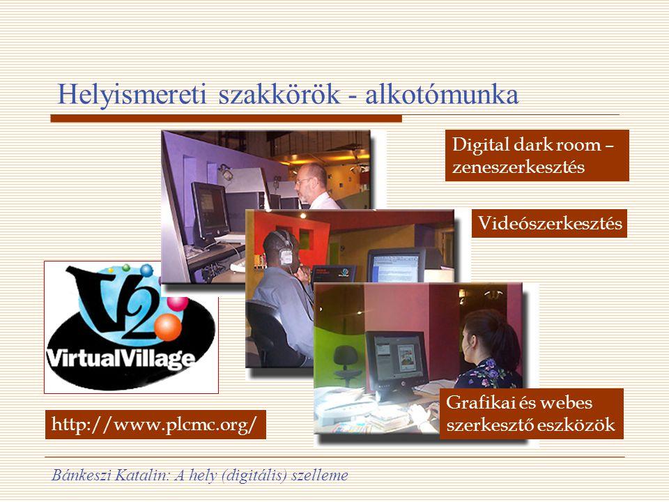 Bánkeszi Katalin: A hely (digitális) szelleme Helyismereti szakkörök - alkotómunka Digital dark room – zeneszerkesztés Videószerkesztés Grafikai és we