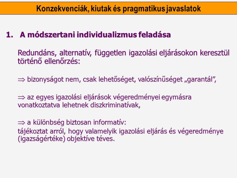 Konzekvenciák, kiutak és pragmatikus javaslatok 1. A módszertani individualizmus feladása Redundáns, alternatív, független igazolási eljárásokon keres
