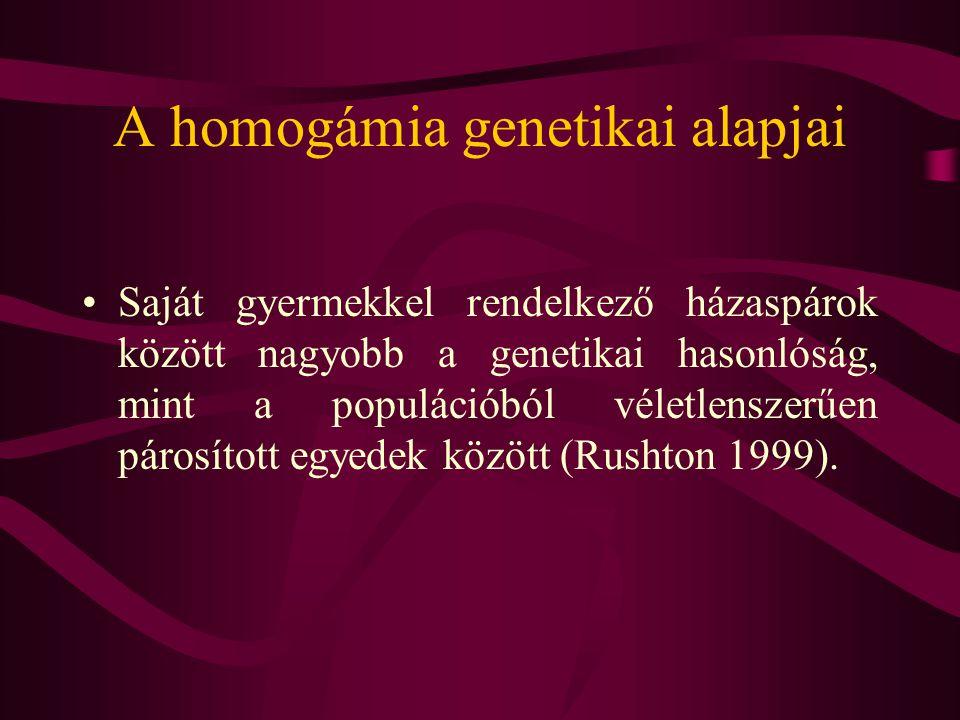 Homogámia és a házassággal való elégedettség Homogám párok nagyobb mértékben elégedettebbek a házasságukkal, mint az egymáshoz kevésbe hasonló párok (Weisfeld és mtsai, 1991).