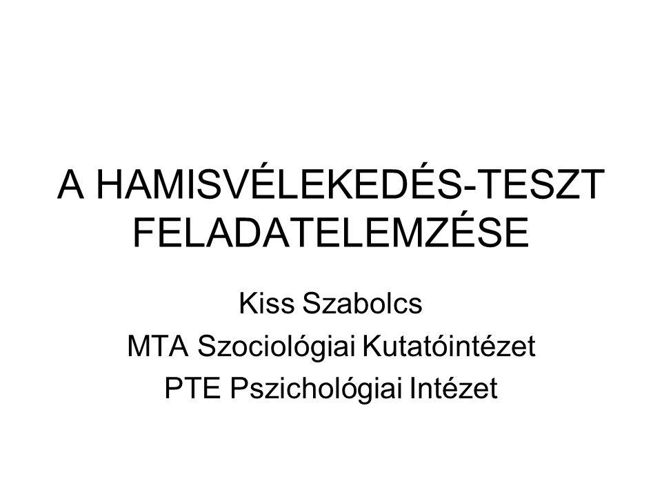 A HAMISVÉLEKEDÉS-TESZT FELADATELEMZÉSE Kiss Szabolcs MTA Szociológiai Kutatóintézet PTE Pszichológiai Intézet