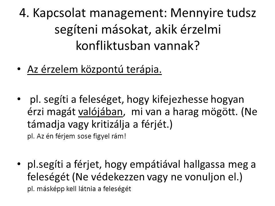 4. Kapcsolat management: Mennyire tudsz segíteni másokat, akik érzelmi konfliktusban vannak.