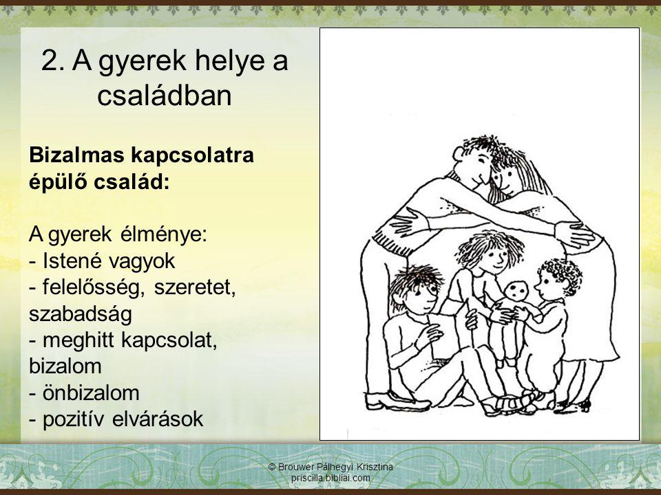 © Brouwer Pálhegyi Krisztina priscilla.bibliai.com Bizalmas kapcsolatra épülő család: A gyerek élménye: - Istené vagyok - felelősség, szeretet, szabad