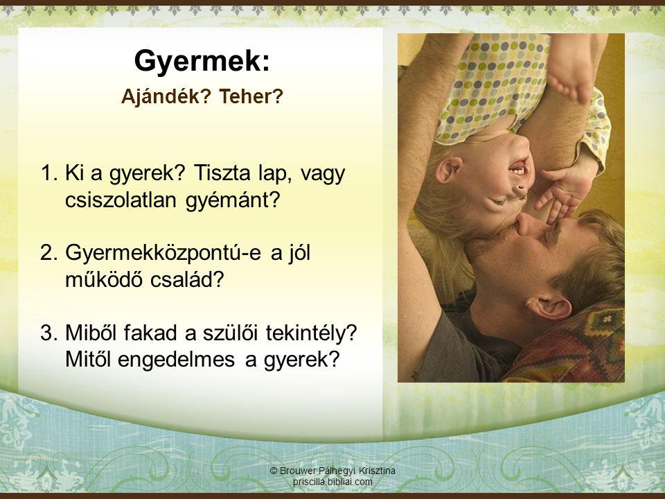 © Brouwer Pálhegyi Krisztina priscilla.bibliai.com Bizalmas kapcsolatra épülő család: Nem szülő, nem gyerek, hanem Istenközpontú.