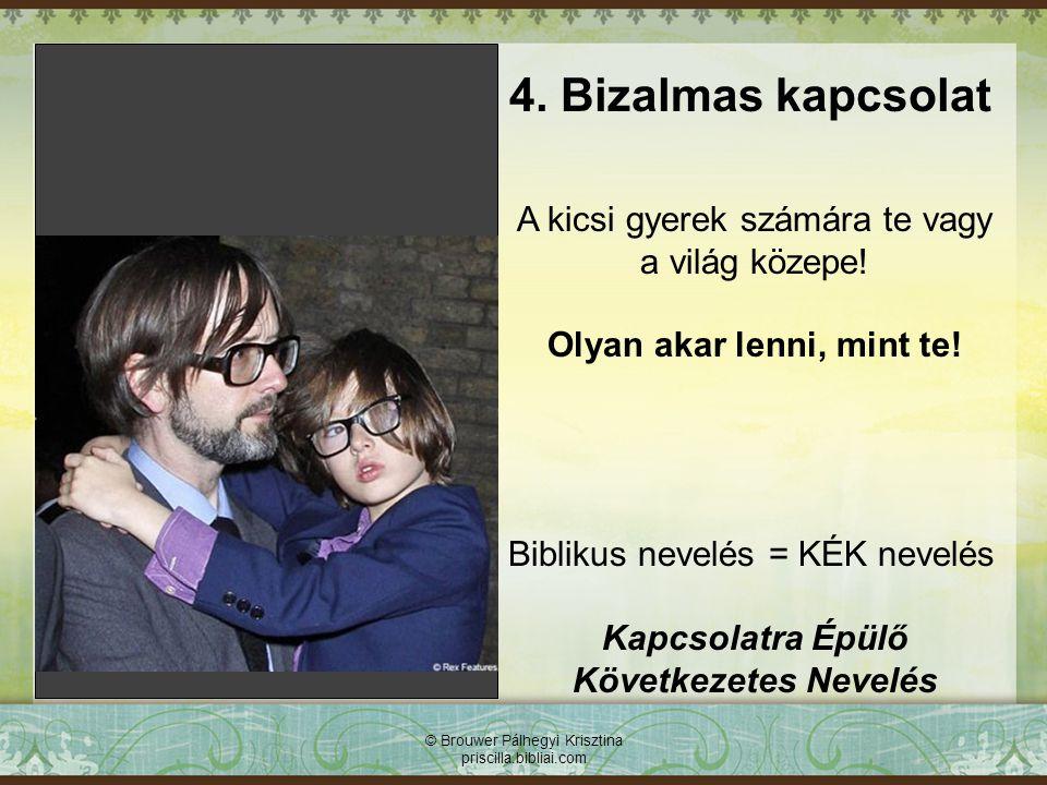© Brouwer Pálhegyi Krisztina priscilla.bibliai.com 4. Bizalmas kapcsolat A kicsi gyerek számára te vagy a világ közepe! Olyan akar lenni, mint te! Bib
