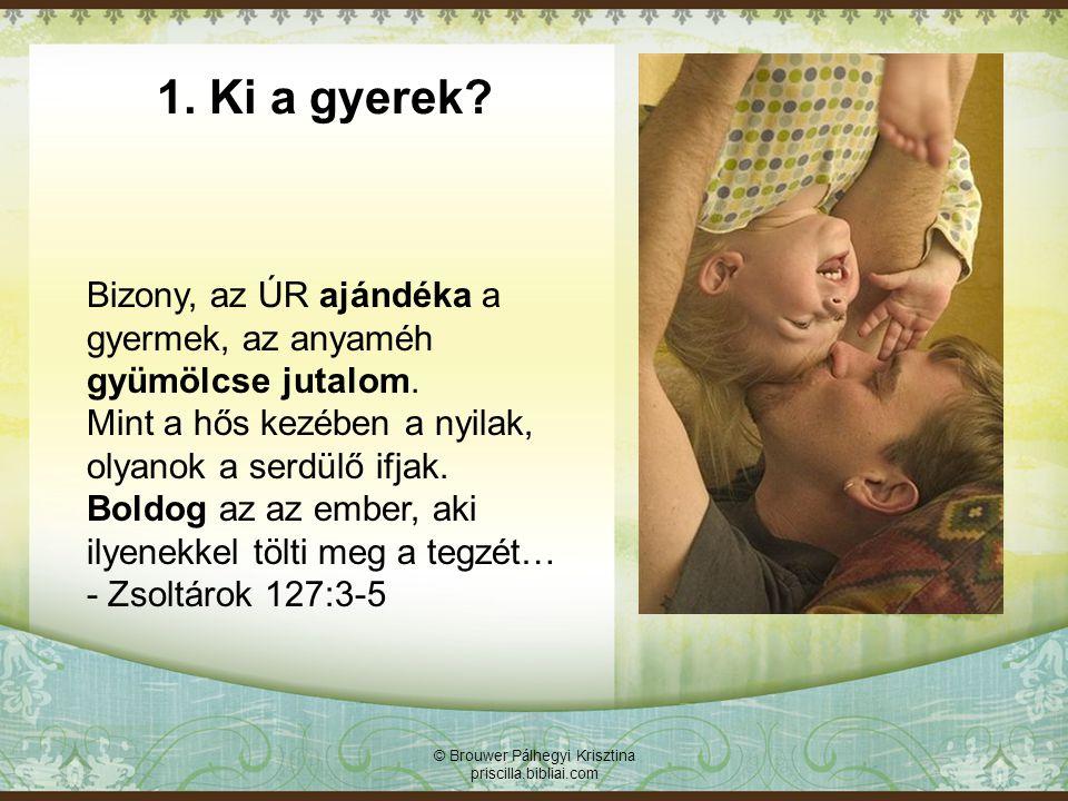 © Brouwer Pálhegyi Krisztina priscilla.bibliai.com Bizalmas kapcsolatra épülő család: A gyerek élménye: - Istené vagyok - felelősség, szeretet, szabadság - meghitt kapcsolat, bizalom - önbizalom - pozitív elvárások 2.