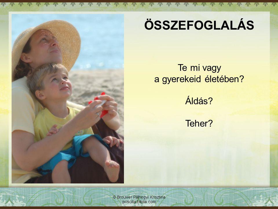 © Brouwer Pálhegyi Krisztina priscilla.bibliai.com ÖSSZEFOGLALÁS Te mi vagy a gyerekeid életében? Áldás? Teher?