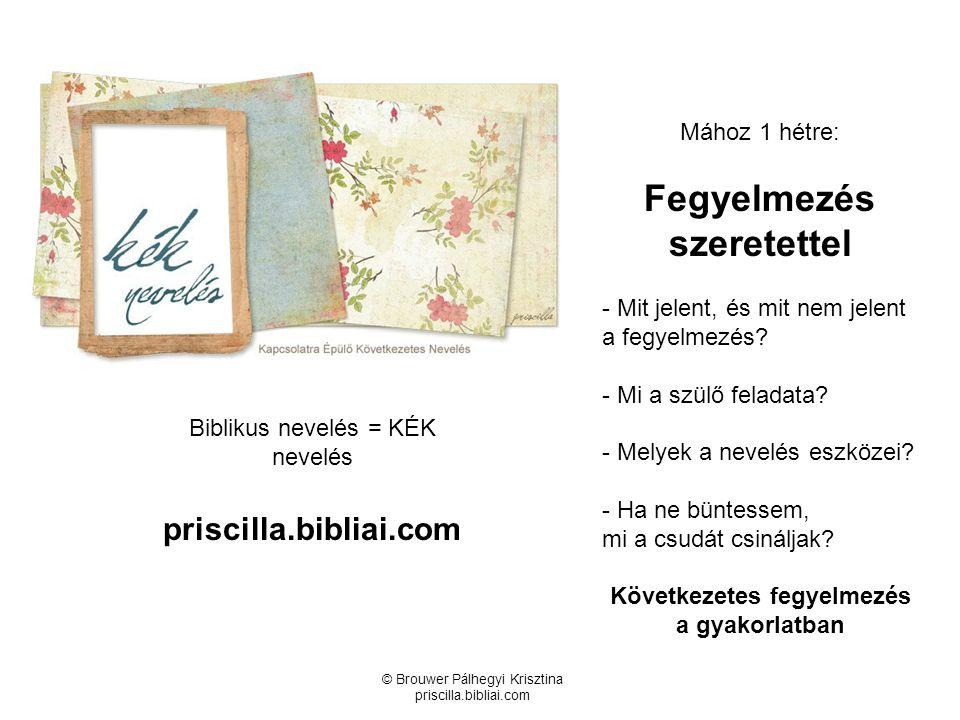 © Brouwer Pálhegyi Krisztina priscilla.bibliai.com Biblikus nevelés = KÉK nevelés priscilla.bibliai.com Mához 1 hétre: Fegyelmezés szeretettel - Mit j