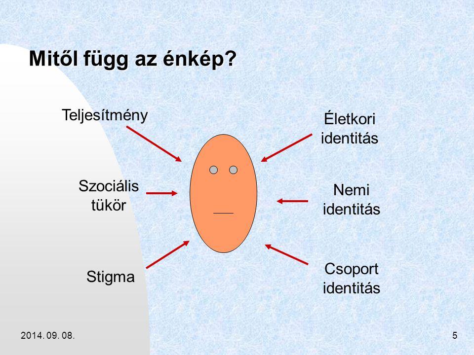 2014. 09. 08.5 Mitől függ az énkép? Teljesítmény Szociális tükör Stigma Életkori identitás Nemi identitás Csoport identitás
