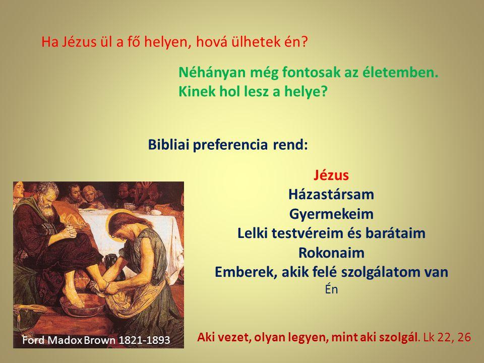 Ha Jézus ül a fő helyen, hová ülhetek én? Néhányan még fontosak az életemben. Kinek hol lesz a helye? Ford Madox Brown 1821-1893 Aki vezet, olyan legy