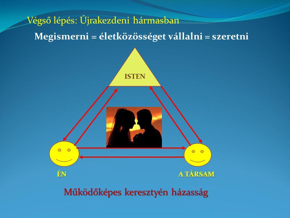 Végső lépés: Újrakezdeni hármasban Megismerni = életközösséget vállalni = szeretni ISTEN ÉN A TÁRSAM Működőképes keresztyén házasság
