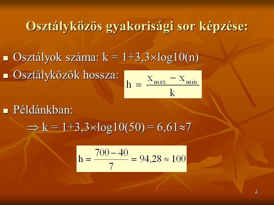 2 Osztályközös gyakorisági sor képzése: Osztályok száma: k = 1+3,3  log10(n) Osztályok száma: k = 1+3,3  log10(n) Osztályközök hossza: Osztályközök hossza: Példánkban: Példánkban:  k = 1+3,3  log10(50) = 6,61  7  k = 1+3,3  log10(50) = 6,61  7