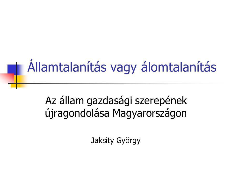 Államtalanítás vagy álomtalanítás Az állam gazdasági szerepének újragondolása Magyarországon Jaksity György