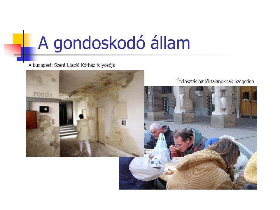 A gondoskodó állam A budapesti Szent László Kórház folyosója Ételosztás hajléktalanoknak Szegeden
