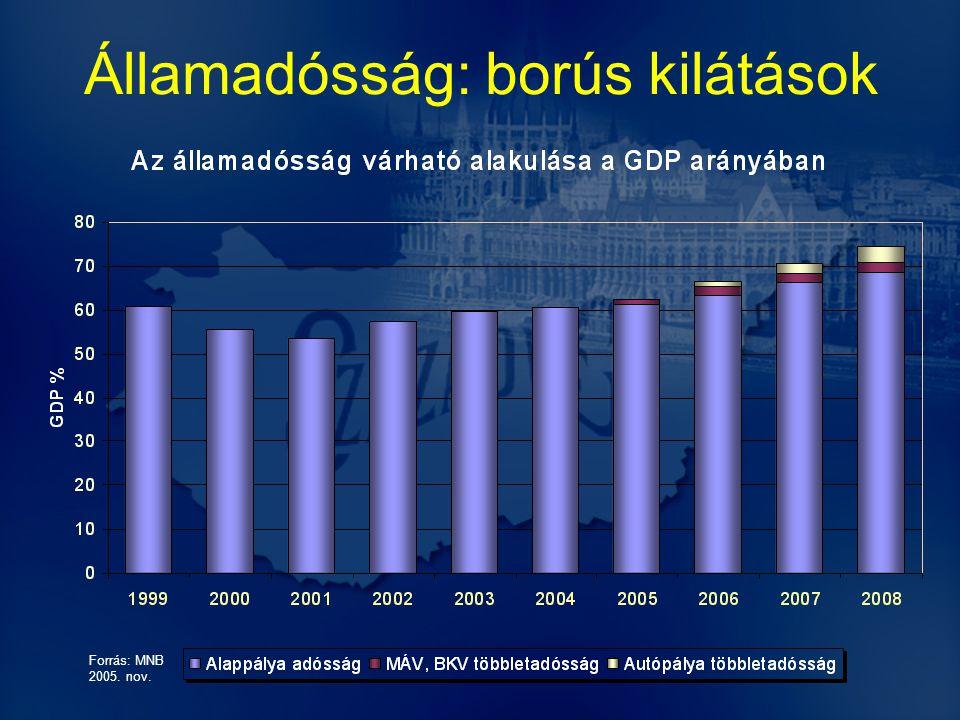 Államadósság: borús kilátások Forrás: MNB 2005. nov.