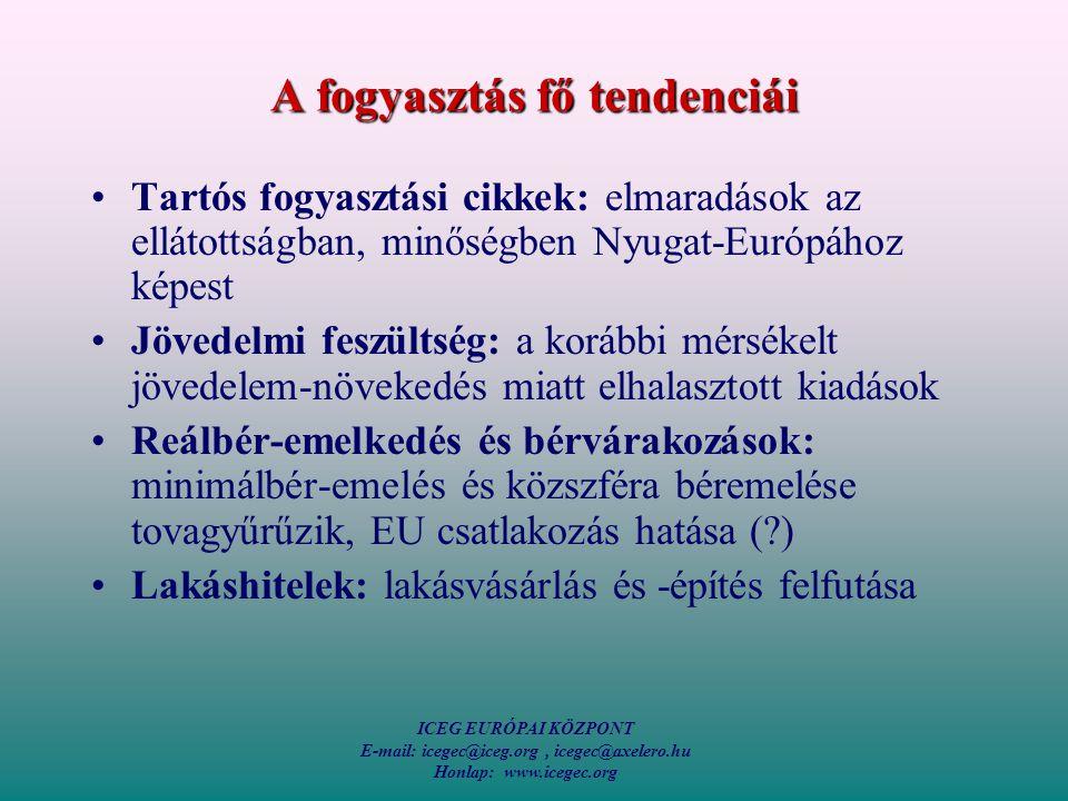 ICEG EURÓPAI KÖZPONT E-mail: icegec@iceg.org, icegec@axelero.hu Honlap: www.icegec.org A fogyasztás fő tendenciái Tartós fogyasztási cikkek: elmaradások az ellátottságban, minőségben Nyugat-Európához képest Jövedelmi feszültség: a korábbi mérsékelt jövedelem-növekedés miatt elhalasztott kiadások Reálbér-emelkedés és bérvárakozások: minimálbér-emelés és közszféra béremelése tovagyűrűzik, EU csatlakozás hatása ( ) Lakáshitelek: lakásvásárlás és -építés felfutása