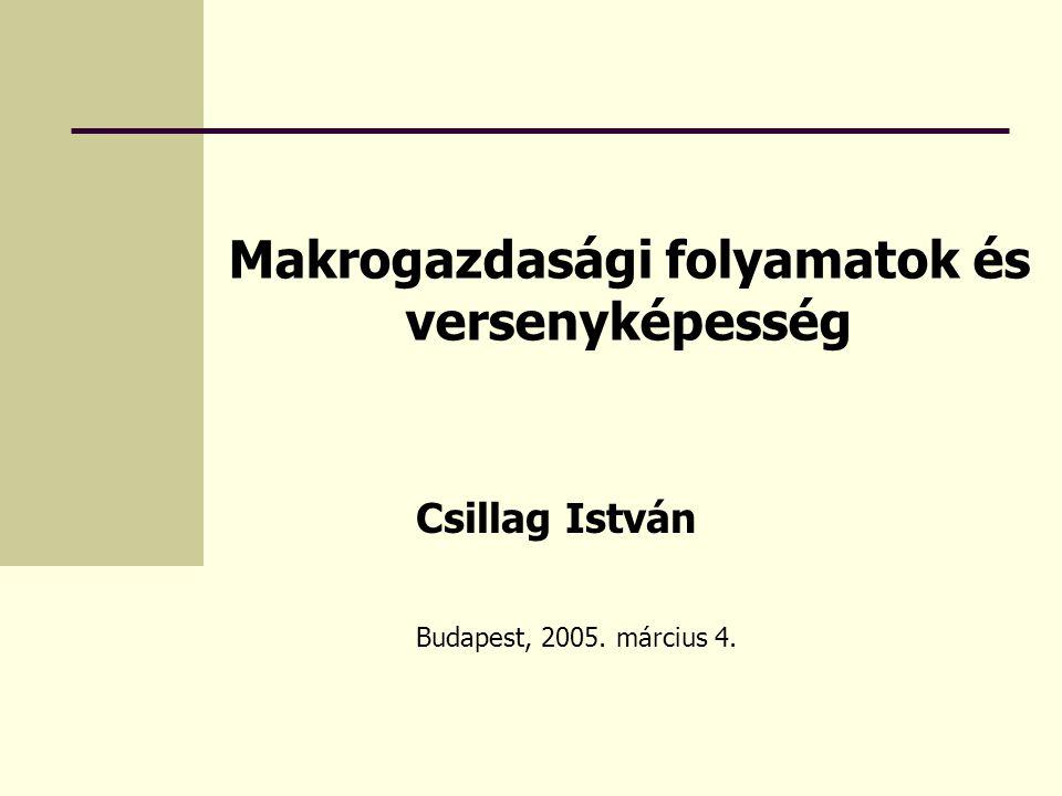 Makrogazdasági folyamatok és versenyképesség Csillag István Budapest, 2005. március 4.
