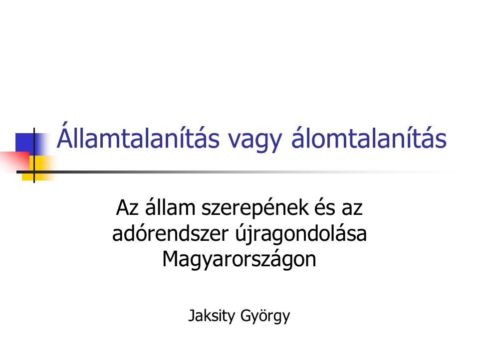 Államtalanítás vagy álomtalanítás Az állam szerepének és az adórendszer újragondolása Magyarországon Jaksity György