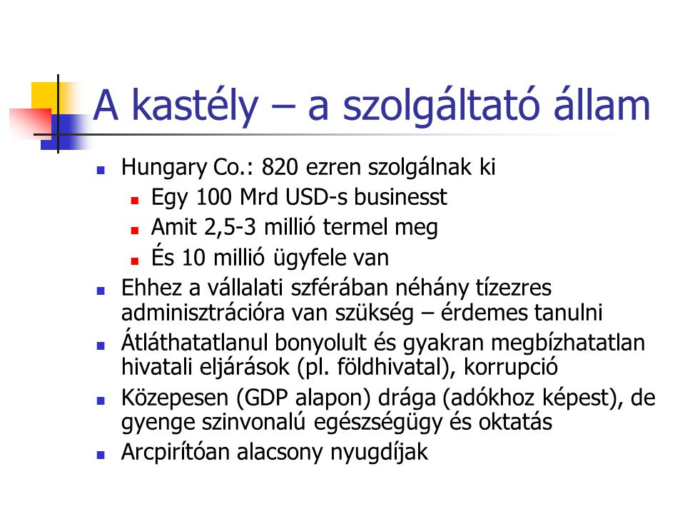 A kastély – a szolgáltató állam Hungary Co.: 820 ezren szolgálnak ki Egy 100 Mrd USD-s businesst Amit 2,5-3 millió termel meg És 10 millió ügyfele van Ehhez a vállalati szférában néhány tízezres adminisztrációra van szükség – érdemes tanulni Átláthatatlanul bonyolult és gyakran megbízhatatlan hivatali eljárások (pl.
