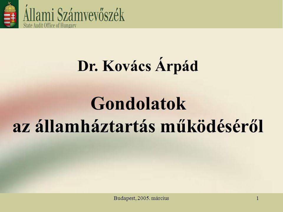Budapest, 2005. március1 Dr. Kovács Árpád Gondolatok az államháztartás működéséről