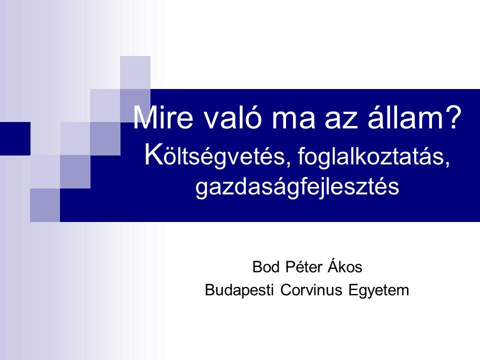 Nincs Pareto-optimális átalakítási lehetőség az államháztartásban Pareto-optimum: minden réteg (régió, szakma, korosztály) számára javulás, de legalább szintentartás – ehhez nem elég gyors a gazdasági növekedés Újraelosztási konfliktusok: vagy az erőteljes piac vagy a hatékony és autoritással bíró állam végzi el A magyar társadalomban gyengült a piaci megoldásokba vetett hit, miközben mélyre süllyedt a politikai eljárások hitele